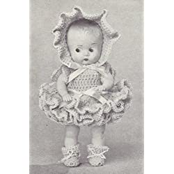Vintage Crochet PATTERN to make - 8 inch Doll Clothes Dress Bonnet Booties Ruffles. NOT a finished item. This is a pattern and/or instructions to make the item only.