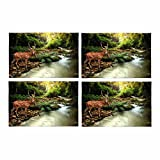 InterestPrint Tropical Stream Sika Deer Placemat Table Mats Set of 4, Heat Resistant Place Mat for Dining Table Restaurant Home Kitchen Decor 12''x18''