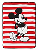Disney Mickey Mouse Jersey Stripe Red/White Plush 62' x 90' Twin Blanket (Official Disney Product)