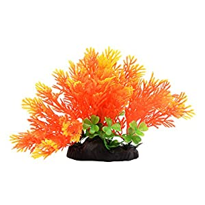"Saim Aquarium Decorations Plants Artificial Plastic Plants Fish Tank Lifelike Underwater Aquatic Coniferous Leaves Grass Landscape Ornaments, Orange, 5.1"" Height 62"