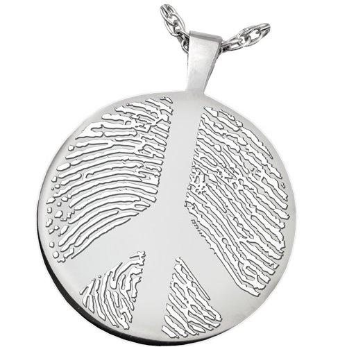 Fingerprint Memorial Jewelry: Platinum Round Charm-Peace Sign + Text Engraving