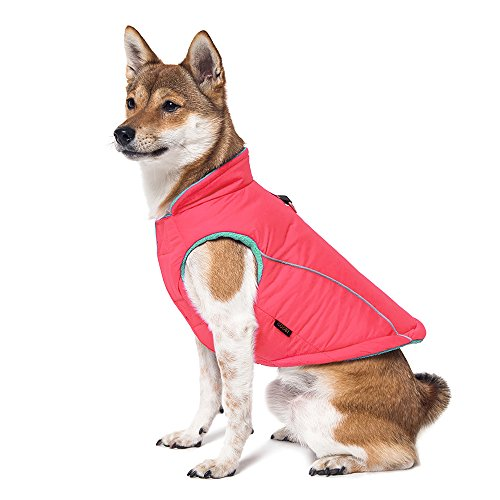 (Gooby - Sports Vest, Fleece Lined Small Dog Cold Weather Jacket Coat Sweater with Reflective Lining, Pink, Large)