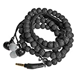 URIZONS Natural Stone Rock Lava Beads Beaded wearable Braided Wristband In Ear Earphones, Headsets with Microphone Remote for iPhone, iPad, Mac, Laptop Android Devices Fabric Bracelet Style (black)