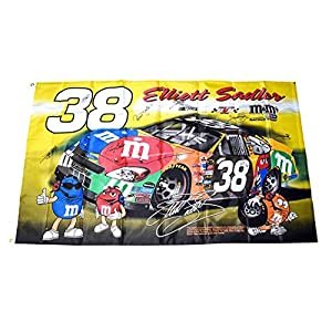 11X AUTOGRAPHED 2005 Elliott Sadler/Robert Yates/Tommy Baldwin / 8 Crew Members #38 M&Ms Ford Taurus Team Rare Signed Collectible 3X5 Foot NASCAR Double Sided Flag with COA