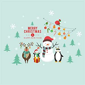 Christmas Snowman Penguin Elk Wall Decals For Kids Rooms ...