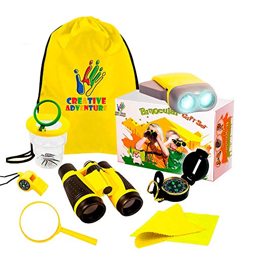 Outdoor Exploration 10 Piece Kit | Kids Binocular, pretend Bug and collector, Flashlight, Compass, Magnifying Glass, Whistle & Backpack | Boys Girls Gift Age 3,4,5,6,7,8,9 | Educational, in & Outdoor ()