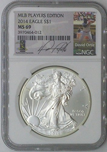 (2014 special mint $1 ms69 ngc $1 silver eagle 1 troy oz fine silver .999 mlb players edition david ortiz ms69 ngc)