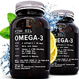 [2 Pack] Omega-3 Premium Fish Oil + D3 + B12 = 2400 mg | Triglyceride 1560 mg (880 mg EPA & 660 mg DHA) - Heart Health, Brain Development & Joint Support - Burpless
