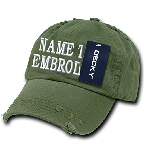 Personalized Olive - Custom Embroidered Hat Frayed Personalized Text Name Baseball Cap - Olive