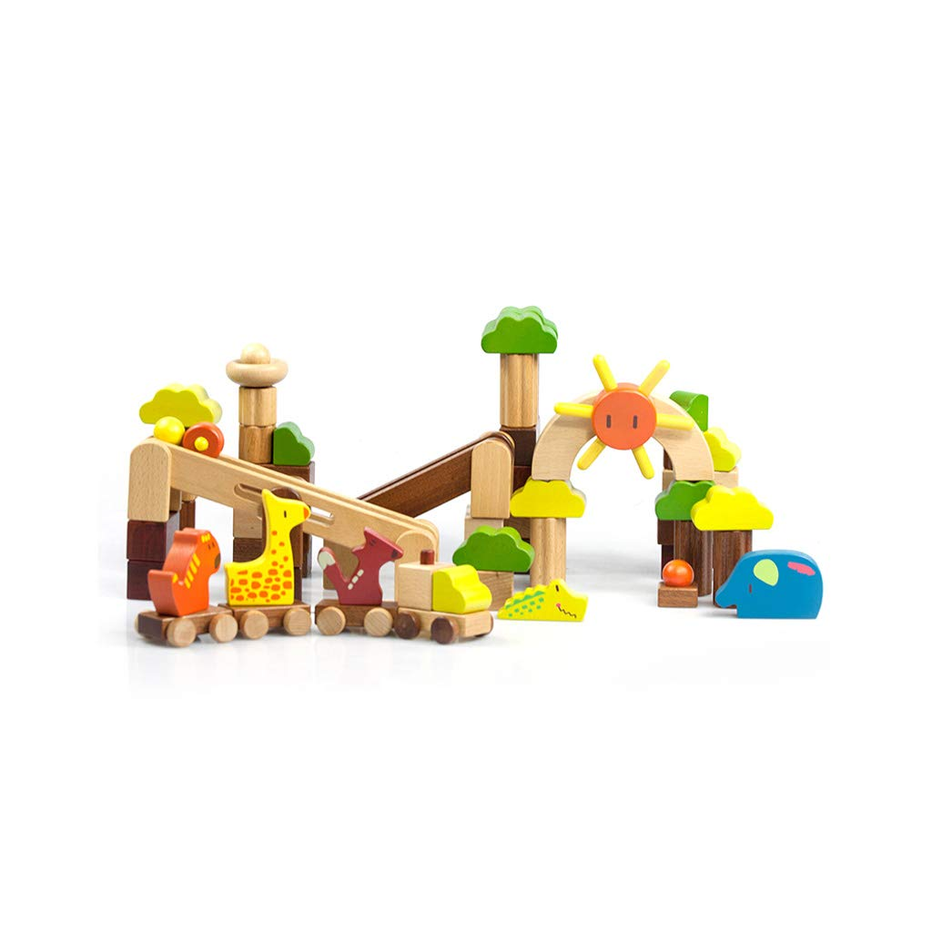 HXGL-Toys Wooden Toys Animal Parks Building Blocks Puzzles Early Education Gifts Pieces (Color : Multi-Colored)