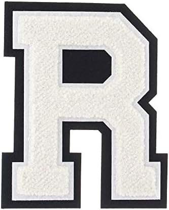 R - White on Black - 4 1/2 Inch Heat Seal/Sew On Chenille Varsity Letter