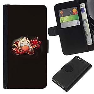JackGot ( Blanco mullido Monster ) Apple iPhone 5C la tarjeta de Crédito Slots PU Funda de cuero Monedero caso cubierta de piel