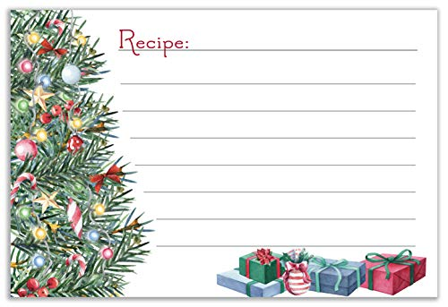 Christmas Tree Holiday Recipe Cards | 4x6 Double Sided