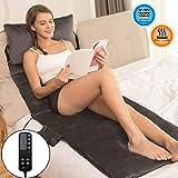 Tech Love Massage Mat with Heat 10 Vibrating Motors Massage Mattress Pad for Back Pain Relief,Full Body Massager -Charcoal Gray