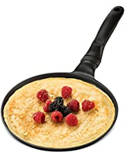 GOURMEX Black Induction Crepe Pan, with PFOA Free Nonstick Coating   Ideal Induction Pan for Egg Omelet and Flat Pancake   Cookware Compatible with All Heat Sources   Dishwasher Safe