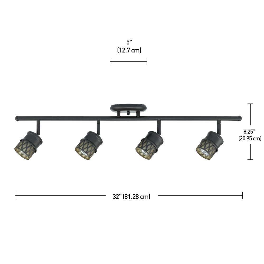 Globe Electric Norris 4-Light Adjustable Track Lighting Kit, Oil Rubbed Bronze Finish, Champagne Glass Track Heads, Bulbs Included, 59063 by Globe Electric (Image #2)