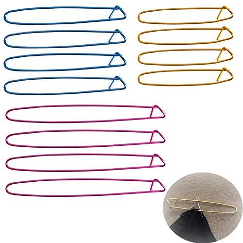 Luckycivia 12 PCS Knitting Stitch Holders, Yarn Stitch Holder Set, Crochet Needle Aluminum Stitch Holders Safety Pins (3 Sizes)