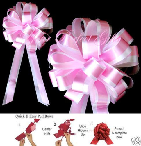 ROSE PINK WHITE WEDDING 8'' PULL PEW BOWS BRIDAL FAVOR
