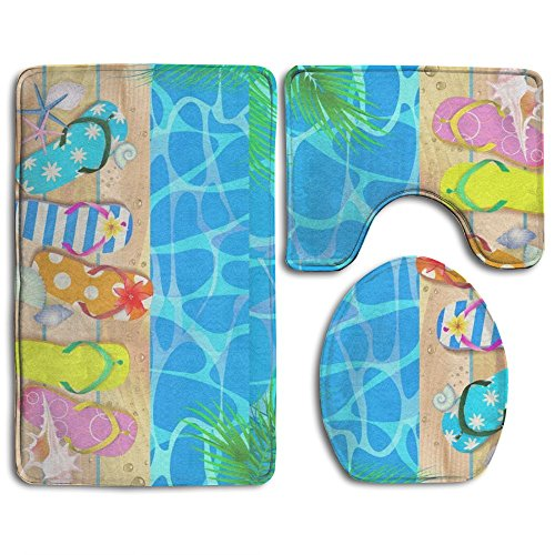 Wooden Board With Starfish And Flip Flop Bath Mat,Bathroom Carpet Rug,Non-Slip 3 Piece Bathroom Mat Set ()
