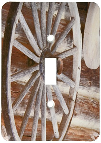 3dRose lsp_188326_1 Canada, Fort Steele Wagon Wheel, Grinding Stone and Log Cabin Light Switch -