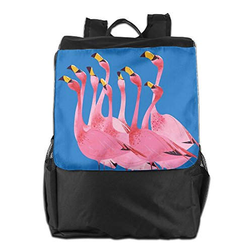 HSVCUY Personalized Outdoors Backpack,Travel/Camping/School-Pink Flamingos Adjustable Shoulder Strap Storage Dayback For Women And Men
