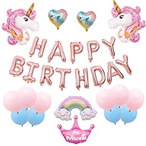 Best Epic Trends 51mkkrZwBBL._SS300_ Birthday Party Banner Unicorn Theme Foil Balloon Set (Light Pink)