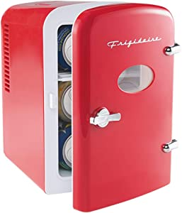 Frigidaire Mini Portable Compact Personal Fridge Cools & Heats, 4 Liter Capacity Chills Six 12 oz Cans, 100% Freon-Free & Eco Friendly, Includes Plugs for Home Outlet & 12V Car Charger (Red)