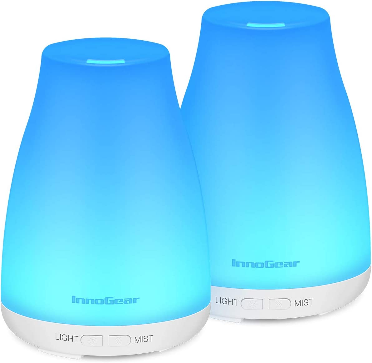 InnoGear 2 Pack Essential Oil Diffuser, 150ml Aromatherapy Aroma Diffusers Ultrasonic Cool Mist Humidifier Waterless Auto Shut Off for Home Office