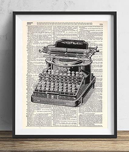 - Vintage Typewriter Illustration (#1) Dictionary Art Print 8x10