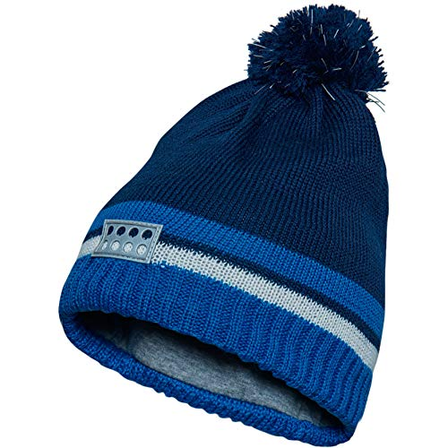 (LEGO Wear Kids & Baby Striped Rib Knit Hat, Soft Cotton Lining, Reflective Pom Pom with 3M Scotchlite Reflector Badge, Dark Navy, 4-7 Yr )