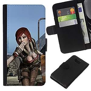 Samsung ALPHA G850 - Dibujo PU billetera de cuero Funda Case Caso de la piel de la bolsa protectora Para (Hot Gaming Girl Character Lilith B0Rderlands)