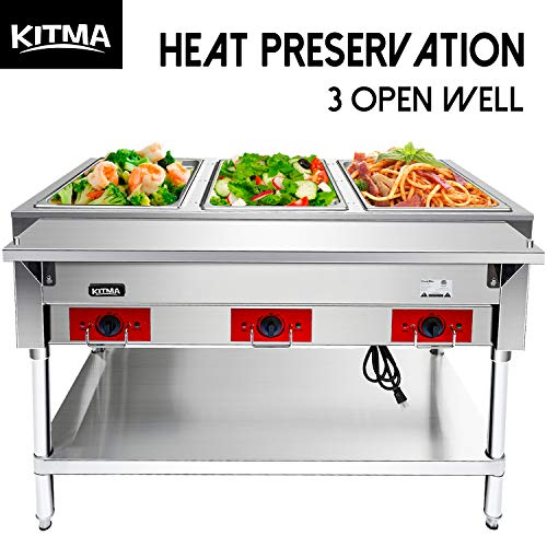 110 V Commercial Electric Food Warmer - Kitma 3 Pot Stainless Steel Steam Table, Buffet Server for Catering and Restaurants ()