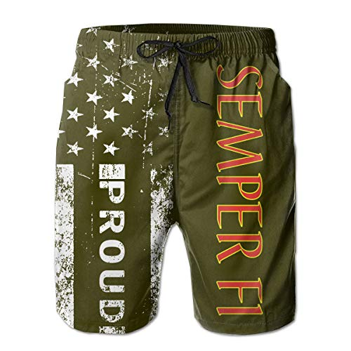 HANINPZ Proud American USMC Semper FI Men's Swim Trunks Army Green Beach Short Board Shorts ()
