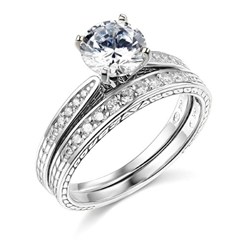 14k White Gold SOLID Wedding Engagement Ring and Wedding Band 2 Piece Set - Size 7 by TWJC (Image #8)