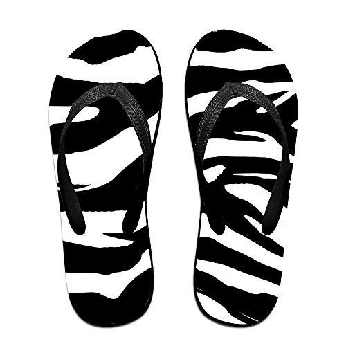 Unisex Zebra Rand Sommar Rem Flip Flops Strand Tofflor Plattformar Sandal För Män Kvinnor Svart