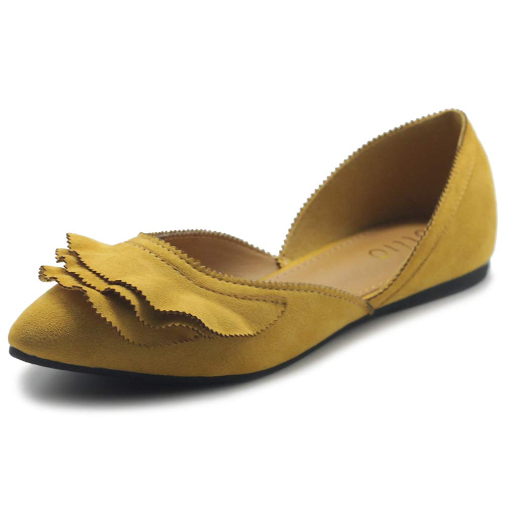 Ollio Women's Shoes Faux Suede Slip On Scallped Collar Pointed Toe Ballet Flats ZY00F70 (8 B(M) US, Mustard)