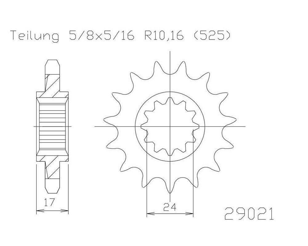 Ritzel 16Z Stahl 525er Teilung 5//8/x 5//16