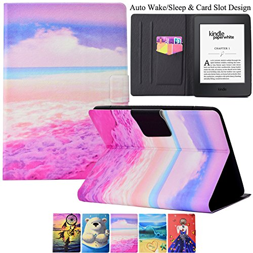 Kindle Paperwhite Case,Artyond PU Leather Card Slot Case [Auto Wake/Sleep] Smart Magnetic Soft TPU Folio Case for Amazon Kindle Paperwhite (Fits All 2012, 2013, 2015 and 2016 Versions) (Beach) by Artyond