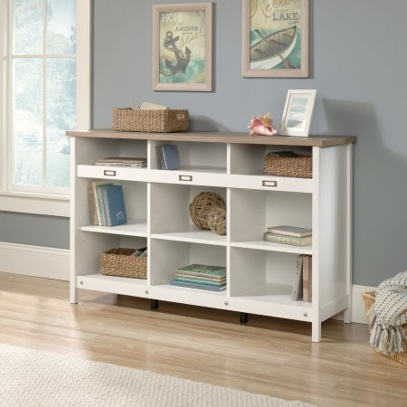 Wood Cubbies Storage Credenza Cabinet, ID Label Tags, 3 Adjustable Shelves,  Bookshelves,