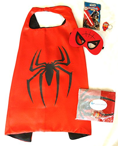 Superhero Cape and Mask Sets for Pretend Play, Dress Up, and Parties (Spiderman) (Spiderman Reversible Costume)