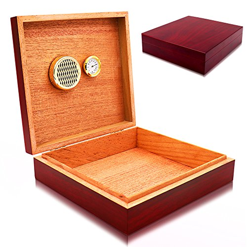 Quality Cedar Cigar Desktop Humidor with humidor Accessories Hygrometer and Humidifier for Beginners and Intermediate Smoker Cherry Finish Holds 10-15 Cigars with Magnet Seal for Home, Car, Office by GFU