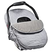 JJ Cole - Car Seat Cover, Weather Resistant Stretch Canopy for Protection, Safety, and Warmth, Gray Herringbone, Birth and up
