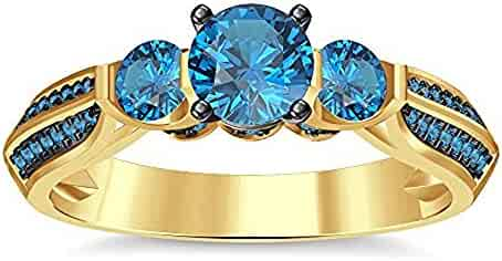 18a886f30c9380 Three Stone 14K Yellow Gold Plated Round-Cut Blue Topaz Wedding Engagement  Ring