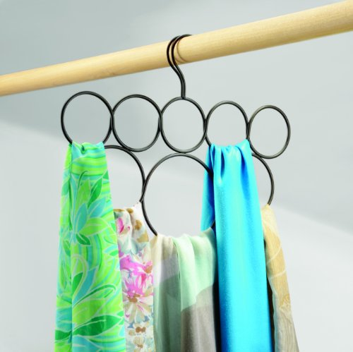 InterDesign Classico Scarf Hanger, No Snag Storage for Scarves, Ties, Belts, Shawls, Pashminas, Accessories - 8 Loops, Bronze