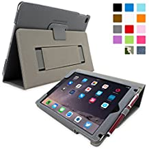 iPad Air 2 Case, Snugg - Grey Leather Smart Case Cover [Lifetime Guarantee] Apple iPad Air 2 Protective Flip Stand Cover with Auto Wake / Sleep