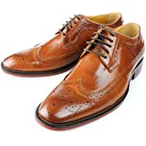 Fulinken Men's Oxford Shoes Leather Lace up shoes Brogue Wingtip Business boots Formal Dress Shoes