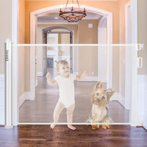 Dofulay New Retractable Baby Safety Gate,Extra Wide Kids Pets Gate with Flexible Design and Easy Latch for Stairs,Doors-Mesh Baby Gate Fits More Spaces,White