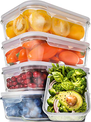 Prep Naturals Glass Meal Prep Containers - Food Prep Containers with Lids Meal Prep - Food Storage Containers Airtight - Lunch Containers Portion Control Containers Bpa-Free (5 Pack,30 Ounce) (Square Tube Storage Container)
