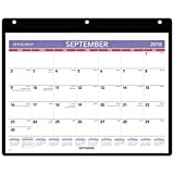 AT-A-GLANCE 2018-2019 Academic Year Desk & Wall Calendar, Small, 11 x 8-1/4, Clear Cover, Vinyl Holder (SK700)