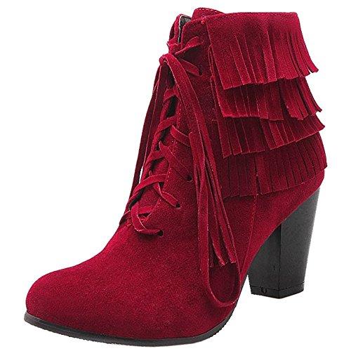 COOLCEPT Damen Mode Fransen Blockabsatz Stiefel Zipper Schuhe Wine Red
